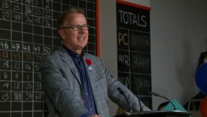 Gordon Dirks reacts to polls in Calgary Elbow