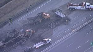 Raw: Hwy 99 truck fire aftermath