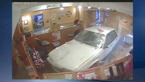 Security video footage of car crashing through store