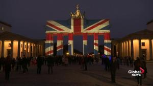 Berlin's iconic Brandenburg Gate lit up in colours of the Union Jack