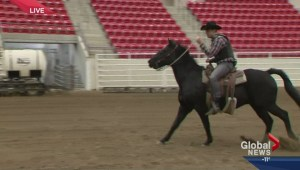 Jordan Witzel tries barrel racing