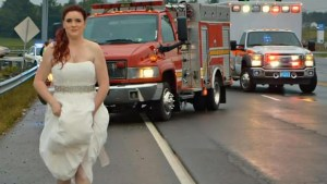 Paramedic bride stops to aid car crash victims while still in her wedding dress