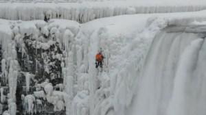 Pro climber spotted climbing frozen Niagara Falls