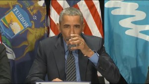 President Obama takes sip of filtered Flint, MI water