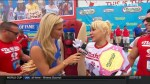 Footage of Miki Sudo holding onto champion title at Nathan's hotdog eating contest