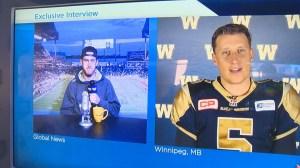 Winnipeg Blue Bomber Rory Kohlert interviews Drew Willy on the Global News sports desk