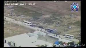 Aerial footage captures forced evacuation of refugee camp in Greece