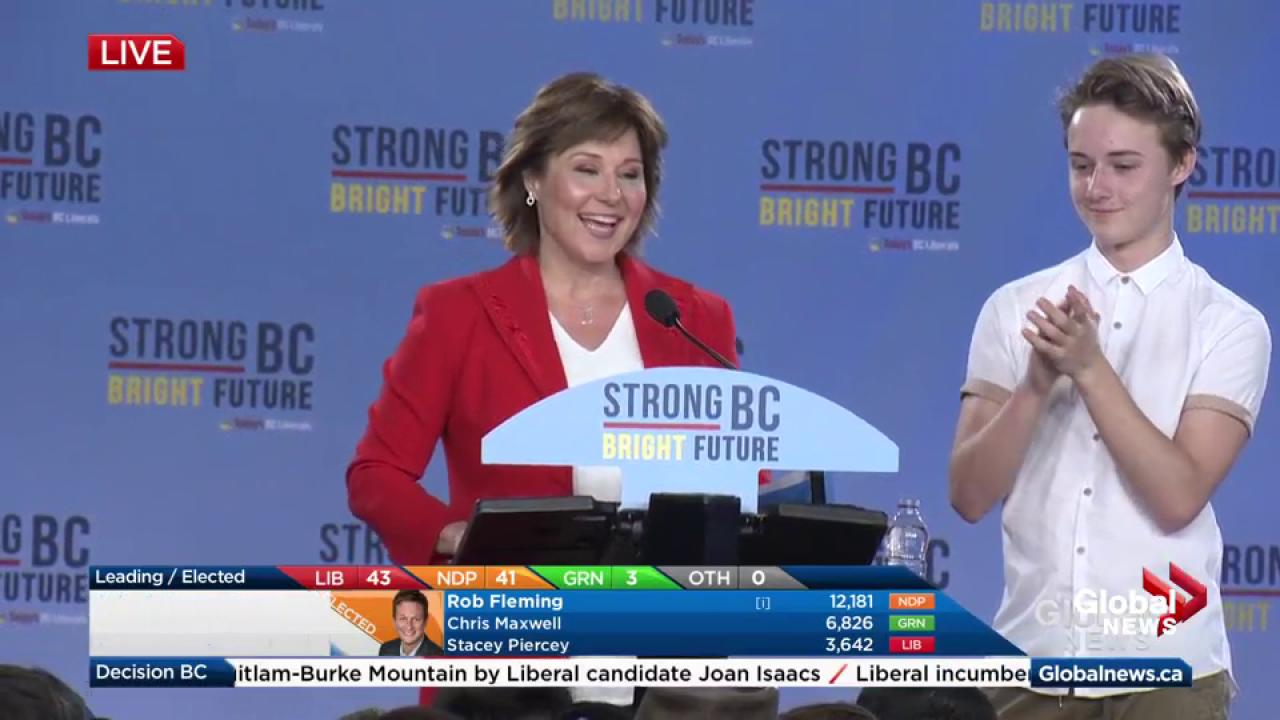 Christy Clark remains BC premier until all votes counted