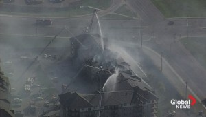 Raw Video: Firefighters battle condo blaze in Clareview
