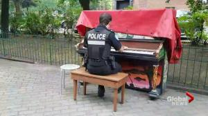 Montreal policeman plays public piano