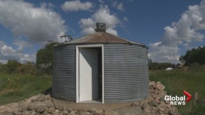 Southern Alberta grain bin turned into historical art piece