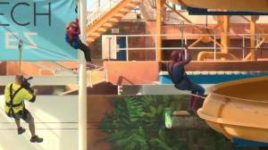 SpiderMable flies through the air at West Edmonton Mall