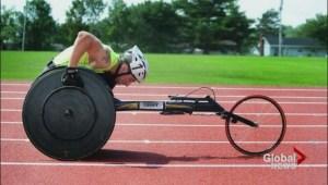 Wheelchair hockey player