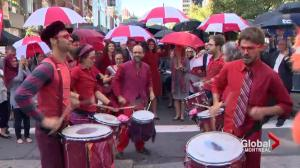 Centraide volunteers hold annual umbrella march