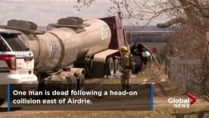 Man dead after crash near Airdrie