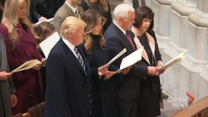 President Trump attends prayer service Saturday morning at the National Cathedral