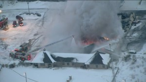 Aerial view of the golf cource fire in Maple