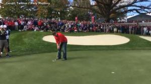 Team Europe challenges American heckler to sink putt for $100