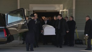 Footage of family mourning death of Teagan Batstone at funeral service