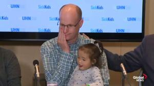 Father fights back tears as he thanks anonymous donor who provided liver transplant for his three year-old daughter
