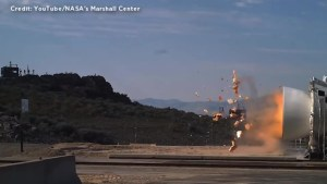 Nozzle of rocket booster blows apart during NASA test firing