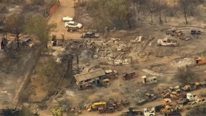 Aftermath aerial footage of thousands of acres of California burnt by wild fires