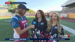 Kim Sullivan talking to cheerleaders from Montreal Alouettes