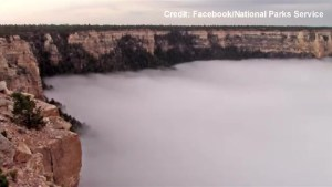 Timelapse of weather phenomenon fills grand canyon with clouds