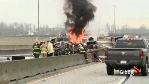 Witnesses describe dump truck crash on Highway 99
