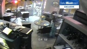 Surveillance footage purportedly shows moment attack began at Paris cafe