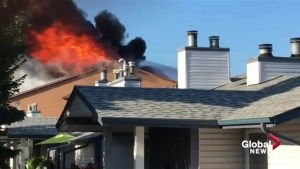 Black smoke, flames shoot out of roof of northeast Edmonton apartment building