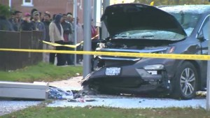 Woman and child suffer serious injuries after vehicle crashes into bus shelter
