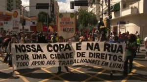 Raw video: Anti-World Cup protest in central Rio ahead of final