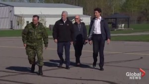 Trudeau, Couillard take helicopter tour over flooded areas of Quebec