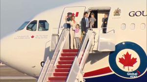 Justin Trudeau and family arrive at Andrews Air Force Base for state visit
