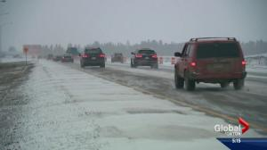 Poor road conditions south of Edmonton
