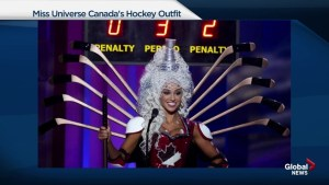 Story behind Miss Universe Canada's hockey themed outfit