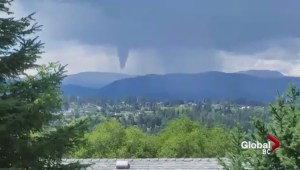 Funnel cloud forms over Okanagan Lake Country area