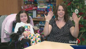 Young girl thanks medical staff at Stollery Children's Hospital