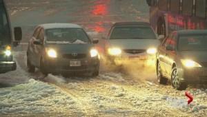 Heavy snowfall turns into slushy mess