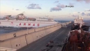 Canary Islands battles oil slick after ferry crashes into underwater pipes