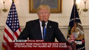 President Donald Trump delivers statement on Virginia shooting
