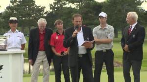 David Hearn receives the Rivermead Cup, congratulates Jason Day on close win
