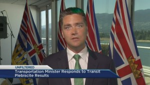 Transportation Minister Todd Stone answers questions following plebiscite results
