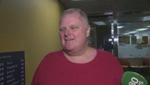 Rob Ford says he couldn't resist stopping at City Hall after getting discharged from hospital