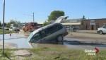Minivan ends up in Saskatoon sinkhole