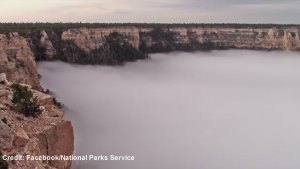 Timelapse shows Grand Canyon filling with clouds