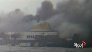 Italian ferry with nearly 500 people onboard caught fire near Greece