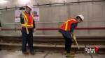 Ontario's Wynne government and the TTC celebrate finishing of Spadina extension track
