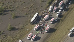 Aerial footage of the bus crash